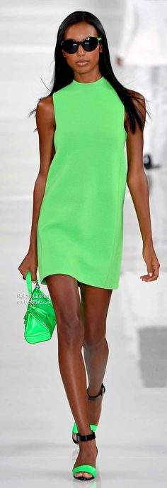 Spring vibes with a splash of color Mint green mini dress for Ralph Lauren.