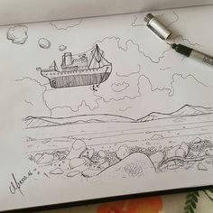 """Check out this #airship #penandink #drawing by @maxhoehl! And by """"airship"""" I literally mean a #ship #flying through the #air! I like the #flyingship concept of this #illustration and the simple style of the #sky background mixed with the details on the #beach (?) In the foreground. Also personally I just like the way Max showed #motion in the airship with both the #smoke and the #anchor. Nice little touches. Cool piece of #artwork Max!"""