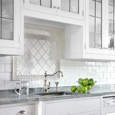 Tile Accent Pieces - Foter Stove Backsplash, White Subway Tile Backsplash, Subway Tile Kitchen, Herringbone Backsplash, Backsplash Ideas, White Tiles, Penny Backsplash, Tile Ideas, Backsplash Wallpaper