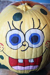 more decorated pumpkins - I hate Sponge Bob! Halloween Birthday, Holidays Halloween, Spooky Halloween, Halloween Pumpkins, Happy Halloween, Halloween Decorations, Halloween Stuff, Halloween Crafts, Halloween Ideas