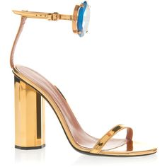 Marco de Vincenzo Bejeweled Metallic Sandal (1,235 CAD) ❤ liked on Polyvore featuring shoes, sandals, gold, geometric shoes, embellished leather sandals, real leather shoes, jeweled shoes and leather sandals