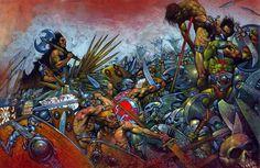 Slaine Mac Roth, le Dieu Cornu sur le champ de bataille, par Simon Bisley