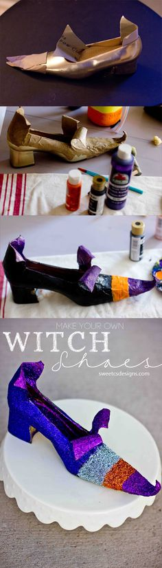 DIY Witch Shoes for Halloween ~ ha! I was going to throw those pumps out anyway, this is perfect!