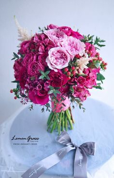 Follow us @SIGNATUREBRIDE on Twitter and on FACEBOOK @ SIGNATURE BRIDE MAGAZINE Exotic Flowers, Pretty Flowers, Pink Flowers, Rose Wedding Bouquet, Pink Bouquet, Pink Green Wedding, Floral Wedding, Shabby Flowers, Bridal Flowers