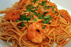 This recipe for two servings of pasta and shrimp with tomato cream sauce makes a great weeknight dinner for two. Pasta Recipes, Dinner Recipes, Cooking Recipes, Recipe Pasta, Pasta Sauces, Shrimp Recipes, Pasta Dishes, Cooking For Two, Meals For Two