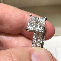 4 Ct Princess Diamond Engagement Ring & Wedding Band Set - 14K White Gold #J99931