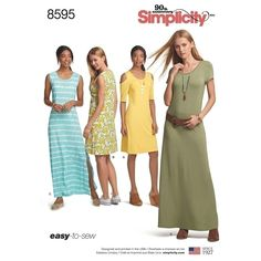 Sewing Pattern Misses Dress Pattern, Womens Knit Dress Pattern, Easy Pullover Dress Pattern, Simplicity Pattern 8595 Misses' Knit Dresses Patron Simplicity, Tunic Dress Patterns, Clothing Patterns, Women's Clothing, Simple Dress Pattern, Miss Dress, Simplicity Sewing Patterns, Petite Dresses, Sewing Clothes