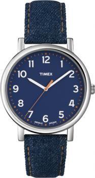 Zegarek damski Timex Easy Reader T2N955, denim design, jeans, pasek