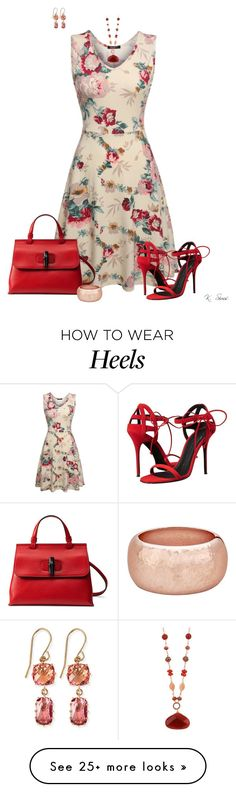 """""""Print Dress"""" by ksims-1 on Polyvore featuring Giuseppe Zanotti, Gucci, Charming Life and Suzanne Kalan"""