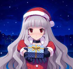 ❄• ~ MERRY CHRISTMAS & HAPPY HOLIDAYS! ~ •❄ anime art. . .santa girl. . .santa claus costume. . .santa hat. . .long hair. . .silver hair. . .gloves. . .present. . .blushing. . .snow. . .city lights. . .cute. . .moe. . .kawaii