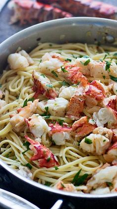 Lobster Scampi with Linguine Easy Lobster Scampi with Linguini - 30 minutes to garlicky lobster heaven!Easy Lobster Scampi with Linguini - 30 minutes to garlicky lobster heaven! Fish Recipes, Seafood Recipes, Pasta Recipes, Dinner Recipes, Cooking Recipes, Healthy Recipes, Cooking Games, Holiday Recipes, Top Recipes