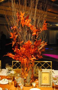 Image result for autumn leaves centerpiece