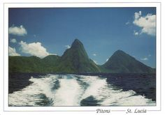 Pitons Management Area  - Saint Lucia   The 2,909-ha site near the town of Soufriere includes the Pitons, two volcanic spires rising side by side from the sea (770 m and 743 m high respectively), linked by the Piton Mitan ridge. The volcanic complex includes a geothermal field with sulphurous fumeroles and hot springs. Coral reefs cover almost 60% of the site's marine area.
