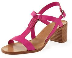 Hot Pink Leather Heeled Sandals by Salvatore Ferragamo. Buy for $258 from Neiman Marcus