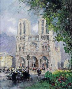 Jules René HERVÉ – 1887-1981 PARIS, NOTRE DAME Huile sur toile signée