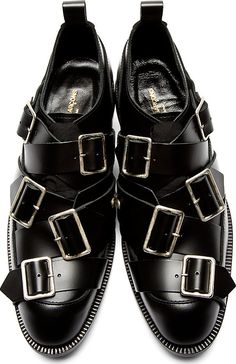 Will you wear it? Designer is very proud of this one. Comme des Garçons: Black Leather Buckle Oxfords #pakistan #india