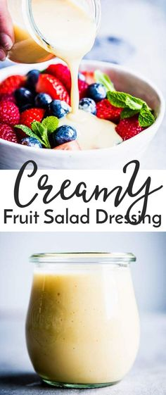 This Creamy Fruit Salad Dressing is going to be your new favorite thing to smother your fruit in. Made without pudding mix or whipped topping, this healthy custard dressing will turn your fruit salad into a wonderfully creamy dessert! Pass the berries, pl
