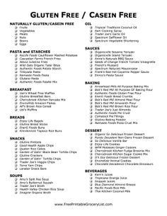 Finding foods that are gluten/casein free can be a pain, but this grocery list will make it much easier to maintain this difficult diet. All the foods on this list conform to this rigorous diet, so even people unfamiliar with this dietary restriction can safely shop for you or a loved one with a gluten intolerance. Free to download and print