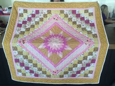 Hand Stitched Amish Friendship Star Quilt - Pink, White and Gold  Measurements…