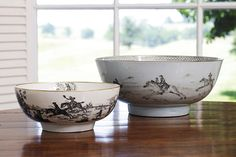 Bunny Mellon's Oak Spring Farm.  Eighteenth-century punch bowls with a hunting motif.