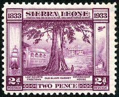 "Sierra Leone  1933 Scott 156 2p violet  ""Old Slave Market, Freetown"""