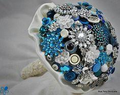 Blue Crystal Button Bouquet #wedding #bouquet #blue #buttonbouquet