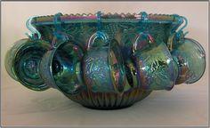 Blue Carnival Glass Punch Bowl Set