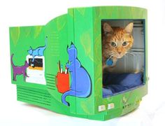 """Cats have an uncanny nack of find the oddest thing comfortable and fun. This is a great thing to do not just for Kitty but for the environment. The Casing of these old PC Monitors would take hundreds of years to biodegrade...i believe this is a wonderful idea for """"Catteries, Animal Welfare Shelters etc"""".. Cats love to hide and be left alone, it gives them the comfort of the security of feeling safe. Just add an old pillow (another re-use) and one happy Kitty, Happy PLANET! :)"""