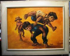 Mikko original oil titled  Boys Leap Frogging Have Fun, Oil, The Originals, Painting, Painting Art, Paintings, Painted Canvas, Drawings, Butter