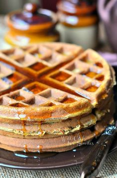 Gingerbread Waffles - Will make a perfect breakfast for a holiday morning! Fluffy, delicious waffles that taste like a favorite holiday cookie!