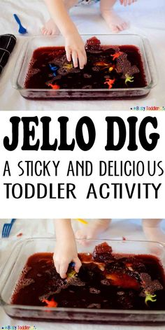 Jello Dig: Messy Sensory Excavating jello dig: a sticky and delicious toddler activity from Busy Toddler This image has get. Toddler Play, Toddler Learning, Baby Play, Toddler Crafts, Toddler Games, Toddler Stuff, Baby Crafts, Kids Crafts, Sensory Activities