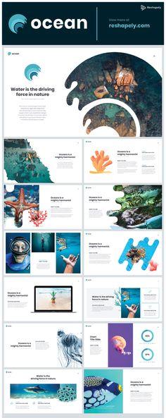 Ocean Powerpoint Template Part 2 - Powerpoint Presentations - Ocean Powerpoint template is ideal for projects on the ocean, underwater life, travel, beach, touri - Ppt Design, Design Powerpoint Templates, Design Sites, Powerpoint Icon, Slide Design, Layout Design, Ppt Template, Business Presentation Templates, Presentation Design