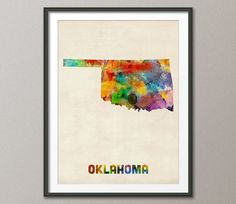 Hey, I found this really awesome Etsy listing at https://www.etsy.com/listing/157429514/oklahoma-watercolor-map-usa-art-print