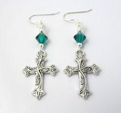 Hey, I found these Christian earrings at https://www.etsy.com/listing/195879893/green-cross-earrings-emerald-green-fancy