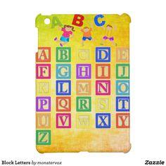 Block Letters iPad Mini Cases  #BlockLetters #Letters #Alphabet #Zazzle #Laptop #Tablet #Case #Cover #iPad #iPadMini