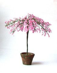 Pink cherry Blossom Tree Handmade weathered pot 12th dollhouse miniature