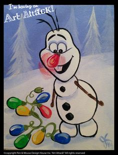 """""""Olaf the other reindeer"""" canvas """"I'm Having an Art Attack!"""" social painting parties. Original artwork by Julie Kukreja. www.artattackpaintparty.com"""