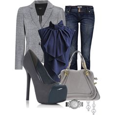 A fashion look from January 2013 featuring MANGO blazers, River Island jeans and JustFabulous pumps. Browse and shop related looks.