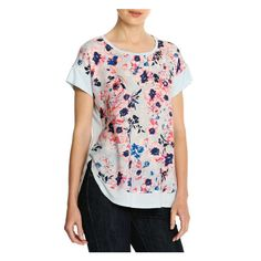 Floral Mixed Media Tee in Mint Green from Joe Fresh