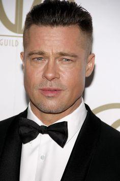Brad Pitt's Fury Haircut: A Stylish Undercut (+Gallery) Brad Pitt Fury Haircut, Fight Club Brad Pitt, Hair Forum, Brad Pitt Photos, Hair Evolution, London Film Festival, Haircuts For Men, Men's Haircuts, Slicked Back Hair