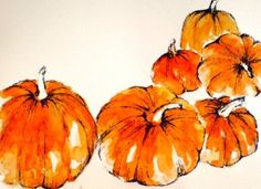 Celebrating the wonderful time of year that is Halloween. Watercolor Fruit, Watercolor Cards, Watercolour Painting, Painting & Drawing, Watercolors, Pumpkin Art, Pumpkin Drawing, Pumpkin Images, Wow Art