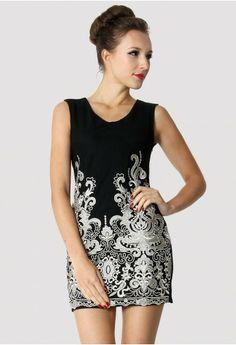033f6695fed Crochet-Embroidered Sleeveless Dress in Black Event Dresses
