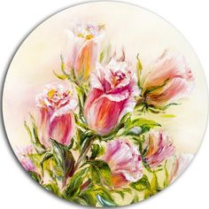 """DesignArt 'Rose Oil Painting' Painting Print on Metal Size: 23"""" H x 23"""" W x 1"""" D"""