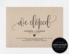 We Eloped Wedding Announcement Elopement by BlissPaperBoutique