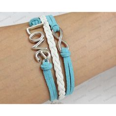 silver bracelets - bronze infinit & anchor braclets with blue... ($6.99) ❤ liked on Polyvore