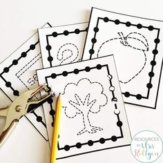 Apple Themed Fine Motor Activities | This pack of ten fine motor activities are perfect for small groups, morning tubs, centers, stations, and more. Your preschool or Kindergarten students will practice paper tearing, cutting, pinning, tracing, hole punching, line tracing, tweezing, playdough skills, pre-writing, stickers, and clothespin pinning. Use these anytime in August, September, or October for your fall or autumn theme apple fun. (preK, Kinder)
