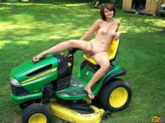 Girls tractors posing naked farm on