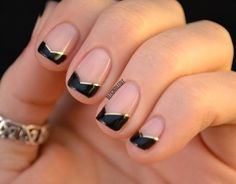 Fashion For Women: Natural nails designs in black color