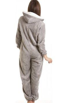 Camille Grey Luxury Super Soft Fleece Hooded All In One Onesie Cotton Jumpsuit, Casual Jumpsuit, Fluffy Sweater, Cotton Sweater, Onesie Pajamas, Pyjamas, Cuddle Duds, Luxury Nightwear, Camille