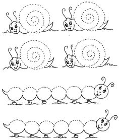 Snail tracing page - caterpillar tracing worksheet - Preschool Crafts Kids Activities At Home, Preschool Learning Activities, Free Preschool, Preschool Puzzles, Tracing Worksheets, Kindergarten Worksheets, Learning English For Kids, Kids Learning, Preschool Writing